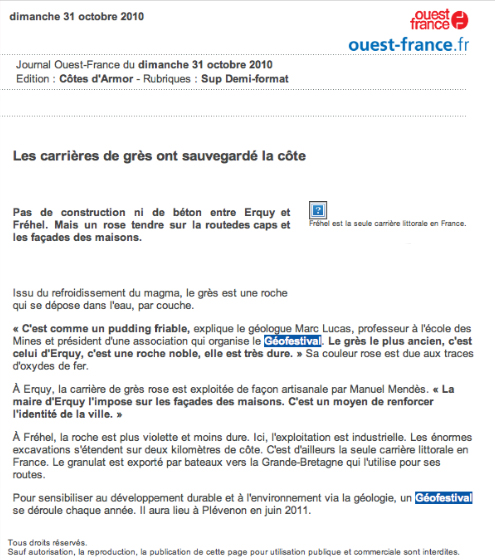 Ouest France, 31/10/10